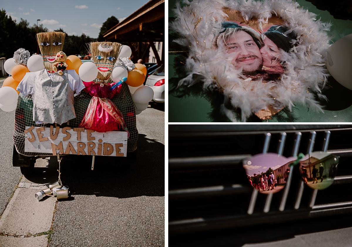 Mariage champêtre au chateau de Chazeron Auvergne voiture