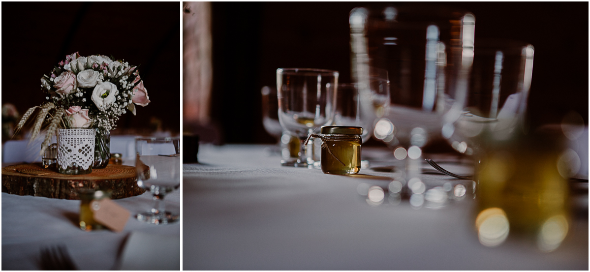 Mariage champêtre au chateau de Chazeron Auvergne table