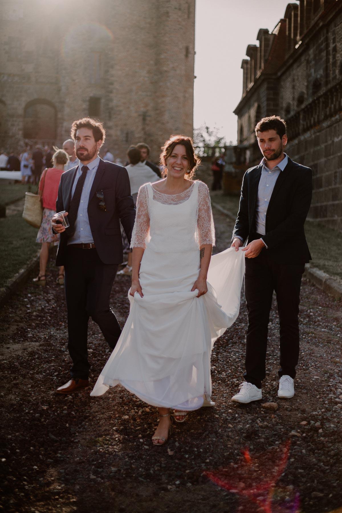Mariage champêtre au chateau de Chazeron Auvergne robe
