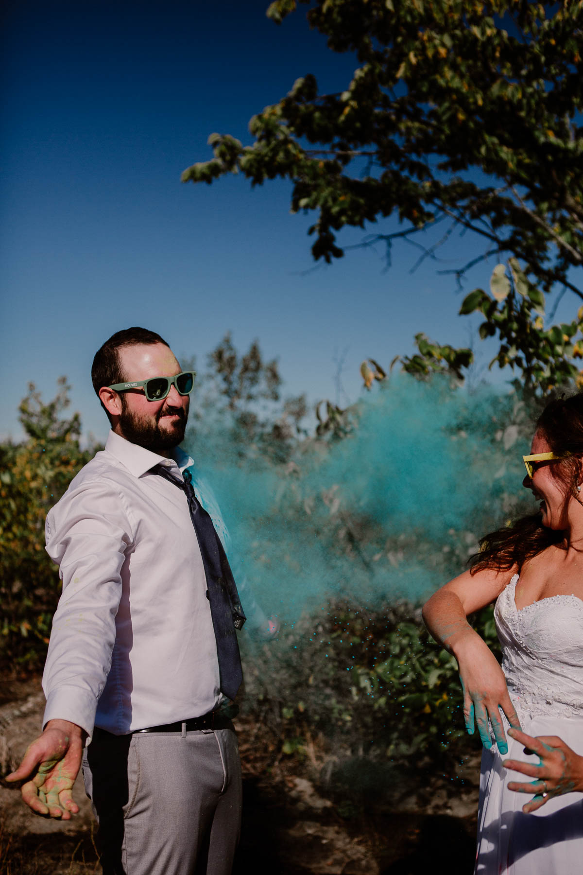 trash the dress fun et coloré bleu
