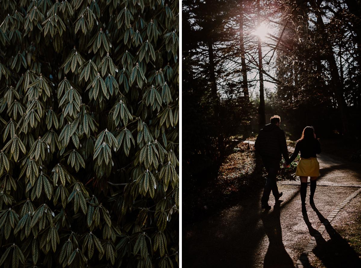Séance photo de couple au ajrdin botanique de genève marche