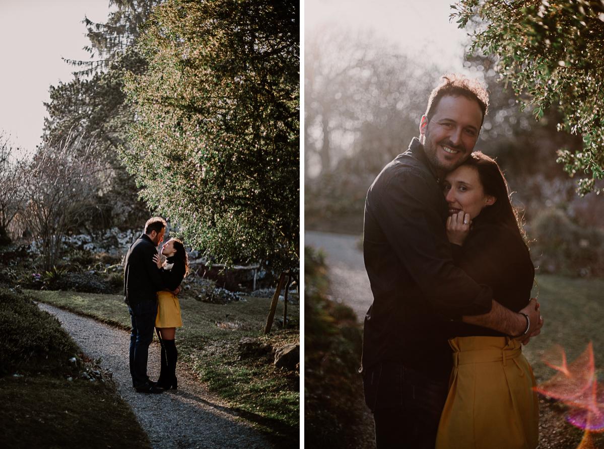 Séance photo de couple au ajrdin botanique de genève complicité