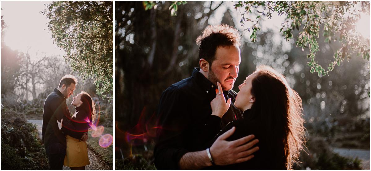Séance photo de couple au ajrdin botanique de genève reflet