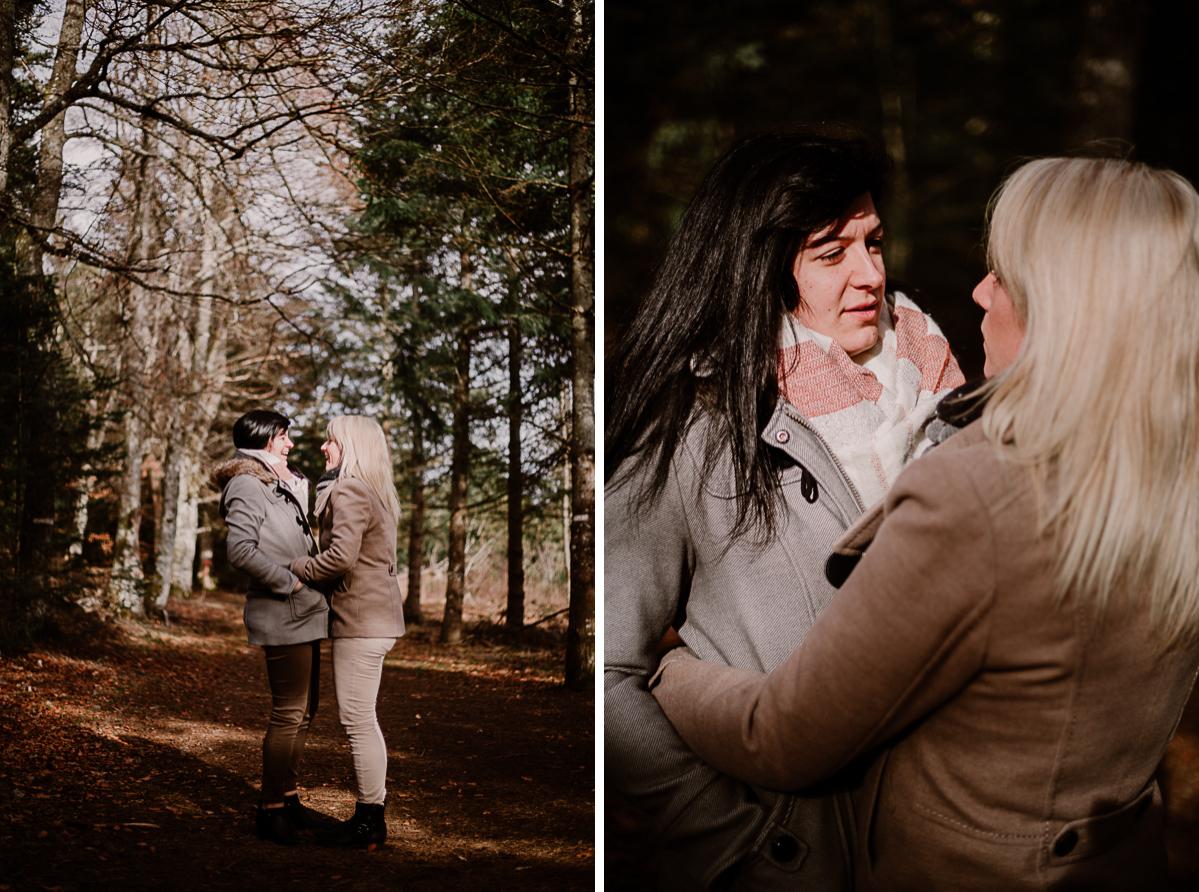 Séance de couple lesbienne lac servière poche