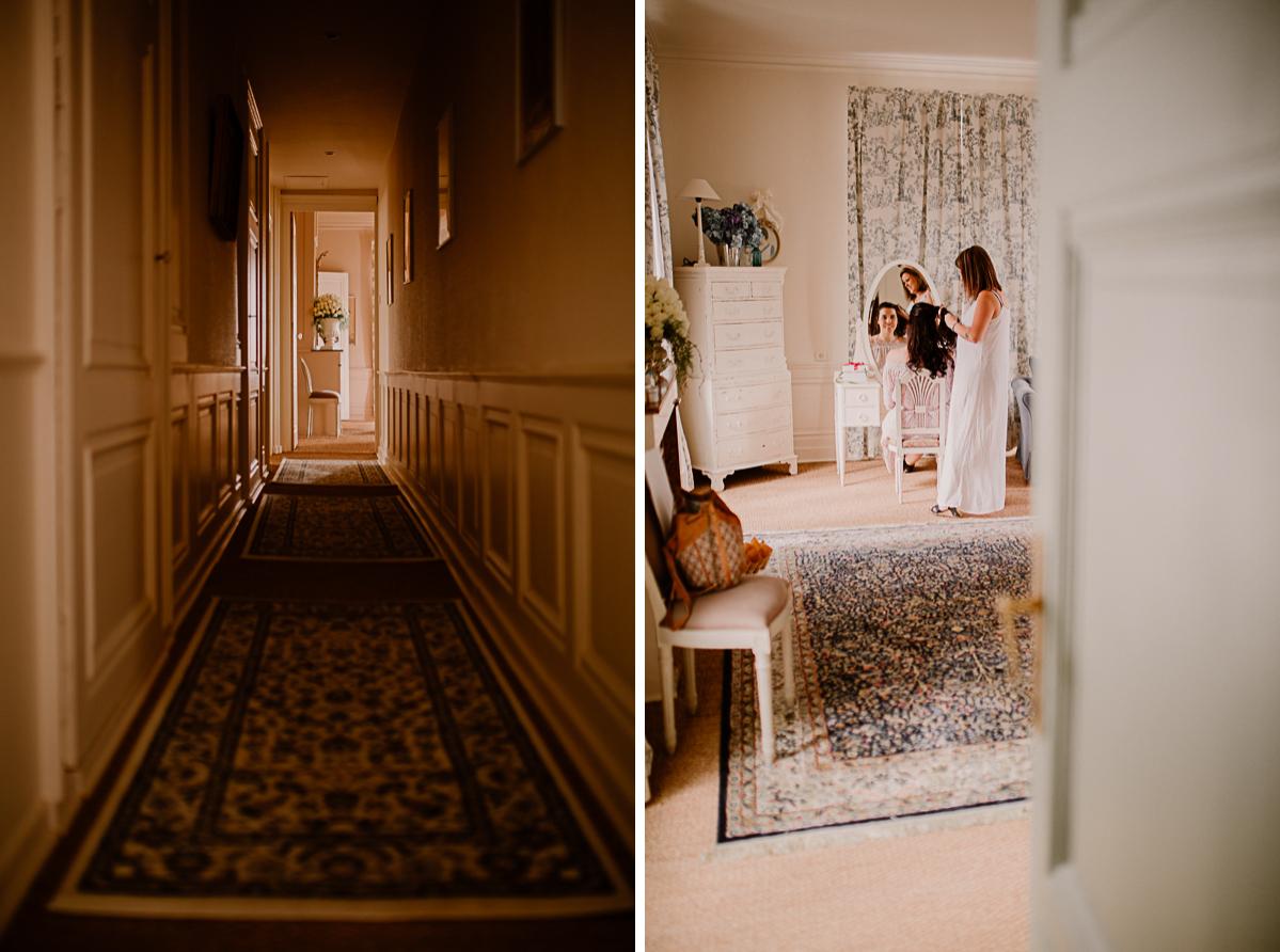 mariage intime au chateau de chazelles couloir