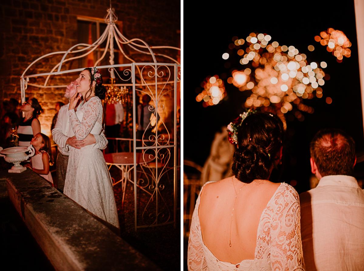 mariage intime au chateau de chazelles feu d'artifice