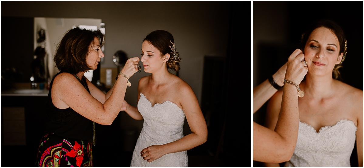Photographe de mariage chateau boisrigaud usson auvergne boucles d'oreille