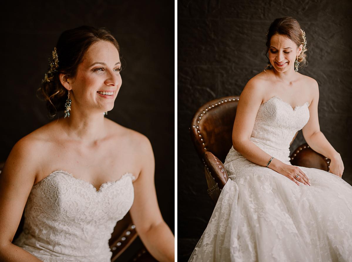 Photographe de mariage chateau boisrigaud usson auvergne portrait de la mariée