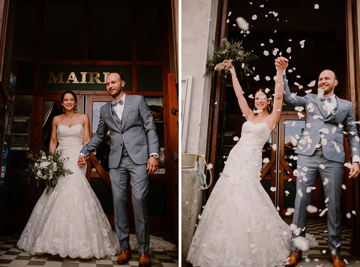 Photographe de mariage chateau boisrigaud usson auvergne sortiede la mairie