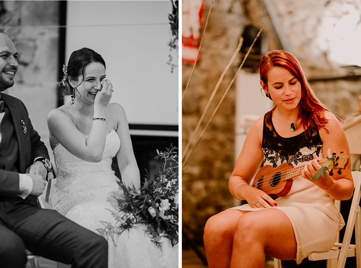 Photographe de mariage chateau boisrigaud usson auvergne ukulele