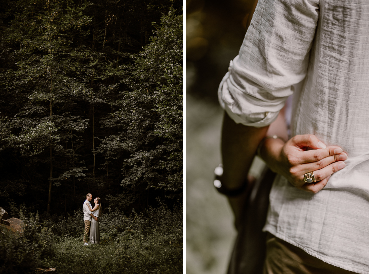 Photographe couple engagement foret auvergne clermont ferrand main